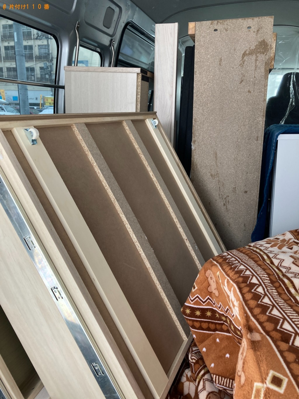ガラステーブル、セミダブルベッド、ラック等の回収・処分